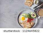 breakfast of coffee and fried... | Shutterstock . vector #1124645822
