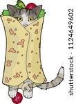 kitten in pita  kitten kebab    Shutterstock .eps vector #1124649602