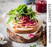 ham  cheese  apple  pickeled... | Shutterstock . vector #1124650775