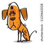 sad homeless dog sketch vector   Shutterstock .eps vector #1124662028