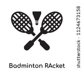 badminton racket and feather... | Shutterstock .eps vector #1124673158