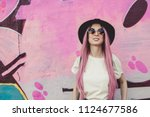 happy stylish young hipster... | Shutterstock . vector #1124677586