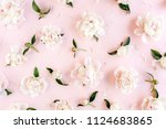 pattern of pink and beige peony ... | Shutterstock . vector #1124683865