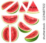 isolated cut watermelon... | Shutterstock . vector #1124687522