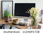 workspace with computer  same...   Shutterstock . vector #1124691728