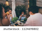 group of friends having fun on... | Shutterstock . vector #1124698802