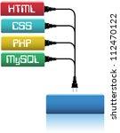 plug html  css  php  mysql... | Shutterstock .eps vector #112470122