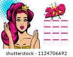 2019 calendar  wow face... | Shutterstock .eps vector #1124706692
