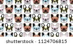 dog seamless pattern french... | Shutterstock .eps vector #1124706815
