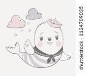 vector illustration of a cute...   Shutterstock .eps vector #1124709035