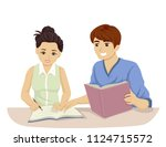 illustration of a teenage girl... | Shutterstock .eps vector #1124715572