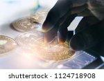 modern way of exchange. bitcoin ...   Shutterstock . vector #1124718908