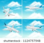 a set of airplane on sky...   Shutterstock .eps vector #1124757548