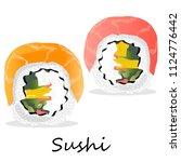 nigiri sushi illustration on a... | Shutterstock . vector #1124776442