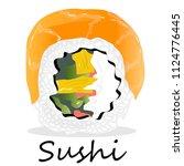 nigiri sushi illustration on a... | Shutterstock . vector #1124776445