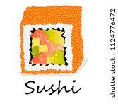 sushi illustration on a white... | Shutterstock . vector #1124776472