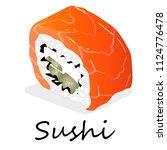 nigiri sushi illustration on a... | Shutterstock . vector #1124776478