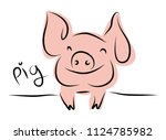 drawing of cute pig vector... | Shutterstock .eps vector #1124785982