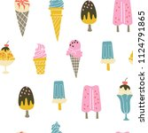 summer seamless pattern with... | Shutterstock .eps vector #1124791865