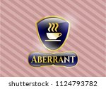 gold badge with coffee cup... | Shutterstock .eps vector #1124793782
