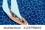 sailing ship horizontal banner... | Shutterstock .eps vector #1124798642