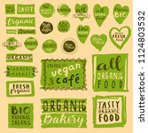 retro set of bio  vegan ... | Shutterstock .eps vector #1124803532