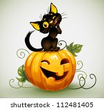 black cat on pumpkin. | Shutterstock .eps vector #112481405