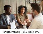 caucasian architect talking to... | Shutterstock . vector #1124816192