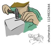 close up man using a hammer to... | Shutterstock .eps vector #1124822666