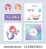 set of mermaid and marine life... | Shutterstock .eps vector #1124825822