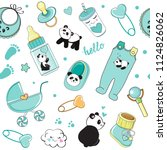 cartoon baby blue elements... | Shutterstock .eps vector #1124826062