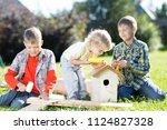 happy kids boys brothers... | Shutterstock . vector #1124827328