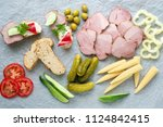 cold appetizer. cold cuts....   Shutterstock . vector #1124842415