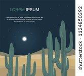 cactus tree. night desert... | Shutterstock .eps vector #1124850392