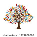 tree with human hands together. ... | Shutterstock .eps vector #1124850608