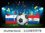 football stadium with the ball... | Shutterstock .eps vector #1124855978