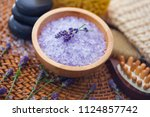 lavender bath salt with fresh... | Shutterstock . vector #1124857742