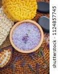 lavender bath salt with fresh... | Shutterstock . vector #1124857745