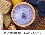 lavender bath salt with fresh... | Shutterstock . vector #1124857748