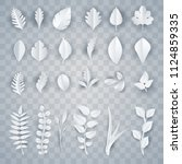 set of paper art white leaves... | Shutterstock .eps vector #1124859335