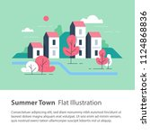 cozy town  row of houses by the ... | Shutterstock .eps vector #1124868836