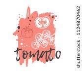 tomato concept design. hand... | Shutterstock .eps vector #1124870462