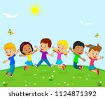 kids boys and girls jumping and ... | Shutterstock .eps vector #1124871392
