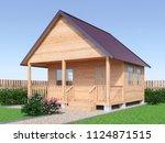 wooden village house or sauna... | Shutterstock . vector #1124871515