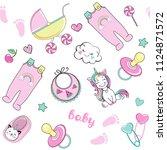 cartoon baby pink elements...   Shutterstock .eps vector #1124871572