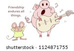 singing pig with the saying ... | Shutterstock . vector #1124871755