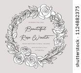 doodle floral rose wreath  ... | Shutterstock .eps vector #1124882375