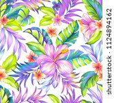 seamless tropical floral... | Shutterstock . vector #1124894162