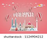 malaysia landmark global travel ... | Shutterstock .eps vector #1124904212