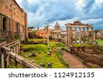 view of the temple of saturn in ... | Shutterstock . vector #1124912135